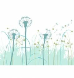 Floral background with dandelions vector