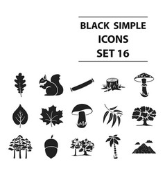 forest set icons in black style big collection vector image vector image