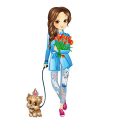 Girl with puppy and flowers vector