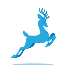 Graceful deer with antlers jumping and grazing vector