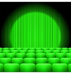 Green curtains with spotlight and seats vector