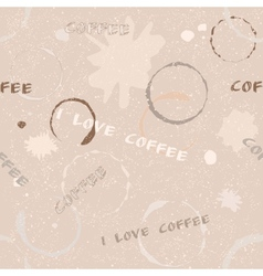 Grunge coffee seamless pattern with text vector image vector image
