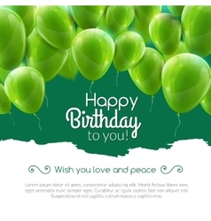 happy birthday card with green balloons vector image vector image