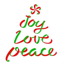 Joy Love Peace Christmas calligraphic lettering vector image