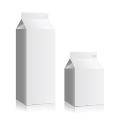 Juice and milk blank white boxes Mock-up packages vector image
