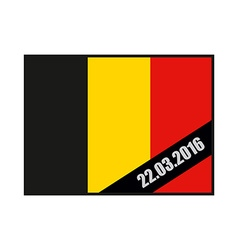Mourning Ribbon on flag of Belgium Attack in vector image