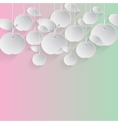 Paper Apples with Drop Shadows vector image