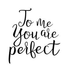 Quote About Love To Me You Are Perfect vector image