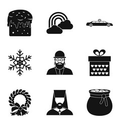 religious symbolism icons set simple style vector image