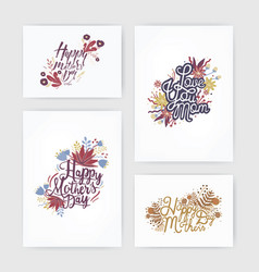 set of horizontal and vertical postcards with vector image vector image