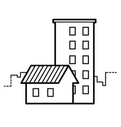 single-storey and multi-storey houses line icon vector image