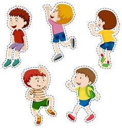 Sticker set of happy boys vector image vector image