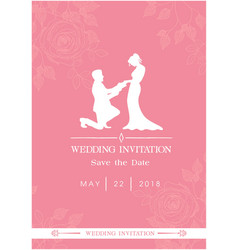 Wedding invitation save the date roses pink backgr vector