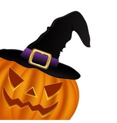 Wicked pumpkin for halloween in a witches hat vector