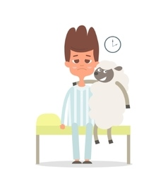 Sleepless concept with man and sheep on the bad vector