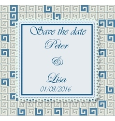 Wedding invitation greek pattern blue vector image