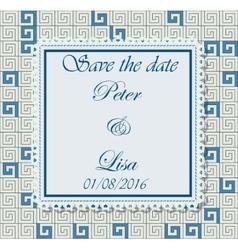 Wedding invitation greek pattern blue vector image