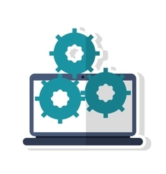 Isolated laptop with gears design vector