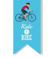 Man riding bike inside ribbon design vector
