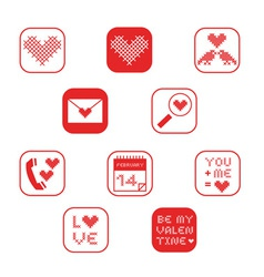 cross stitch valentine icons set collection one vector image