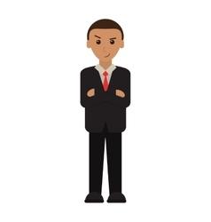 Man business crossed arms suit necktie vector