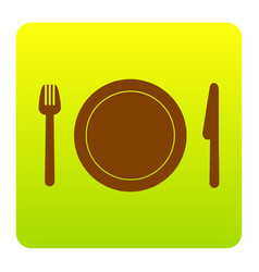 fork plate and knife brown icon at green vector image