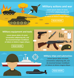 military actions banner horizontal set flat style vector image