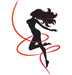 Slenderness silhouette of slim girl vector