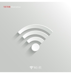 Wi-fi icon - white app button vector image