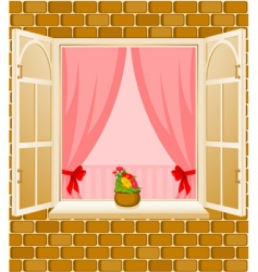window frame and curtains vector image