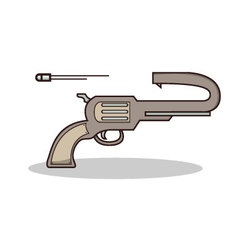 Isolated cartoon scuicide gun on fire vector