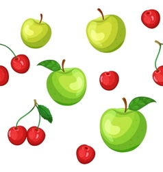 Seamless pattern of green apples and cherries vector