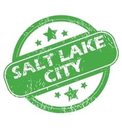 Salt Lake City green stamp vector image