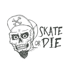 Skate or die lettering tattoo design skater scull vector
