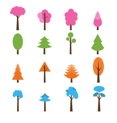 Collection of trees icons set seasons theme winter vector