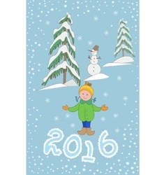 Christmas greeting card with child and snowman vector