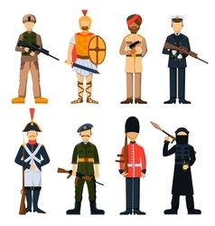 Military soldiers in uniform avatar character set vector