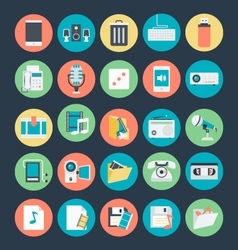 Multimedia colored icons 3 vector