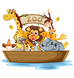 A boat full of animals vector image vector image