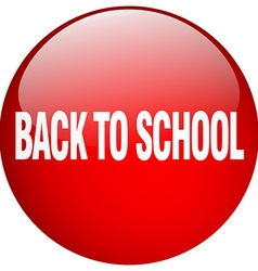 Back to school red round gel isolated push button vector