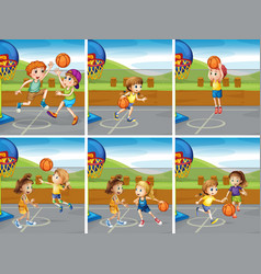 Boys and girls playing basketball vector