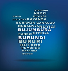 Burundi map made with name of cities vector image