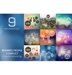 Business people conflict infographic with vector