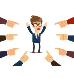 Businessman with fingers pointing at him vector