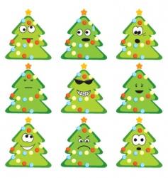 cartoon Christmas trees vector image vector image