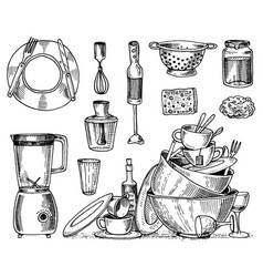 colander blender and juicer dirty dishes jam vector image vector image
