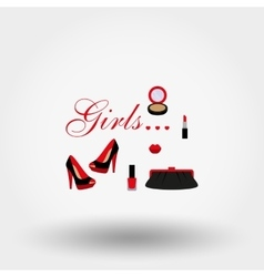 Cosmetics shoes bag vector image