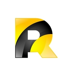 Creative yellow and black symbol letter r for your vector