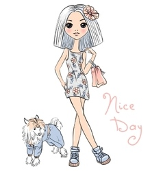 cute fashion girl with dog vector image vector image