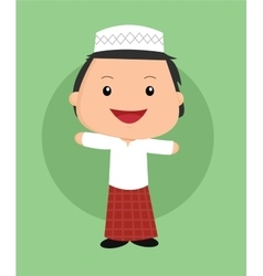 Cute islamic boy vector